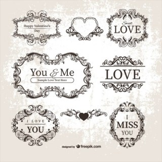 Valentine's Ornamental Labels Free Vectors