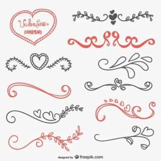 Valentine Calligraphic Ornaments Free Vectors