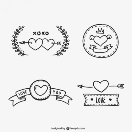 Valentine Ribbons and Stickers Free Vectors