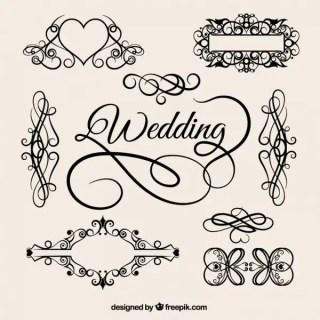 Vector Vintage Style Wedding Elements Free Vectors