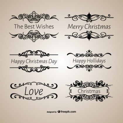 Vintage Style Calligraphic Christmas Ornaments Free Vectors