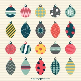 Vintage Style Christmas Baubles Collection Free Vectors