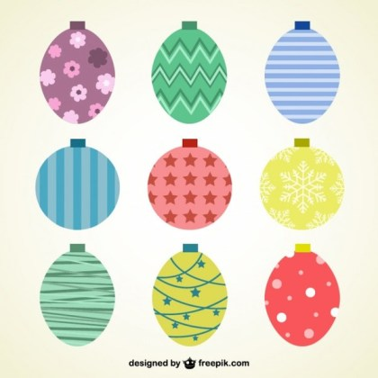 Vintage Style Christmas Baubles Free Vectors