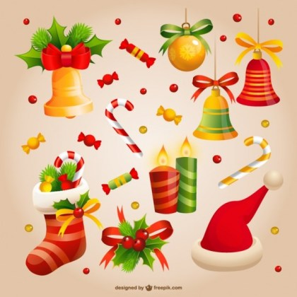 Vintage Style Christmas Candy and Decoration Free Vectors