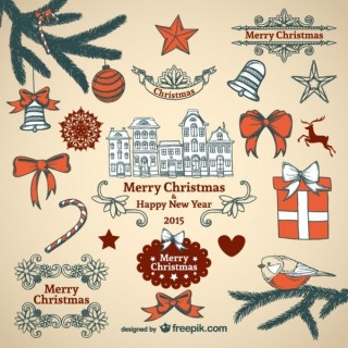Vintage Style Christmas Ornaments Collection Free Vectors