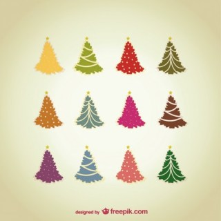 Vintage Style Christmas Trees Pack Free Vectors