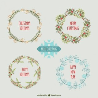 Vintage Style Christmas Wreaths Free Vectors