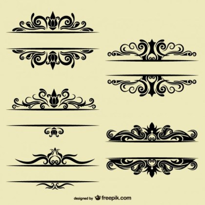 Vintage Style Collection of Text Dividers Free Vectors