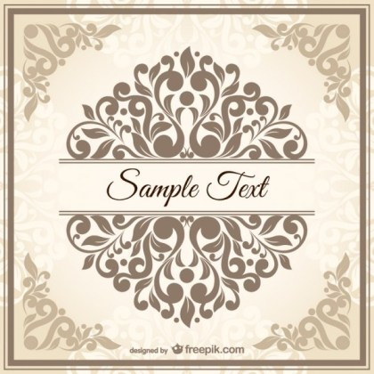 Vintage Style Damask Style Template Free Vectors