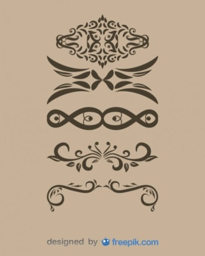 Vintage Style Decorative Text Dividers Collection Free Vectors