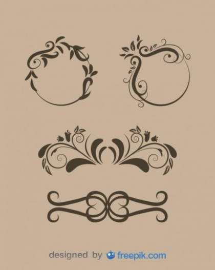 Vintage Style Floral Ornaments Collection Free Vectors
