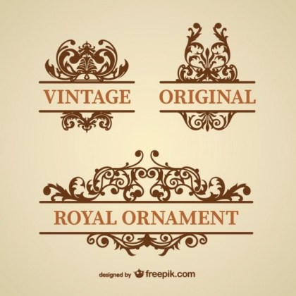 Vintage Style Floral Ornaments Free Vectors