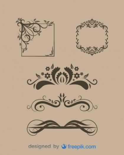 Vintage Style Floral Text Dividers and Frames Collection Free Vectors