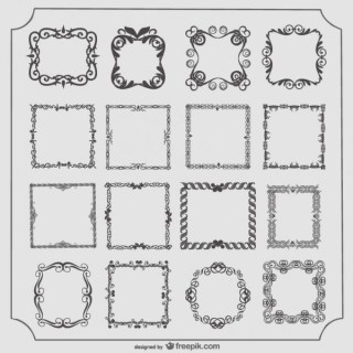 Vintage Style Frames Vector Collection Free Vectors