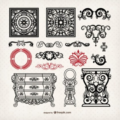 Vintage Style Furniture and Ornaments Free Vectors
