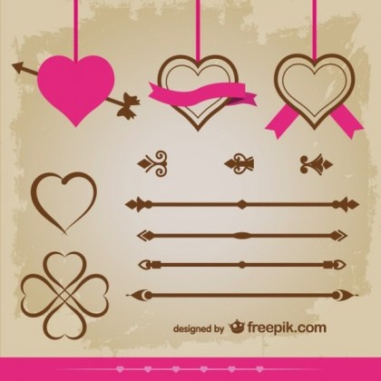 Vintage Style Hearts Ornaments Vector Collection Vector Graphics Free Vectors