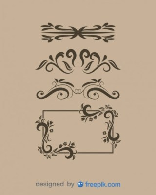 Vintage Style Ornaments and Frame Vector Collection Free Vectors