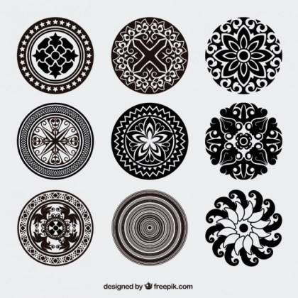 Vintage Style Rounded Ornaments Vector Pack Free Vectors