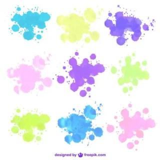 Watercolor Splashes Free Vectors