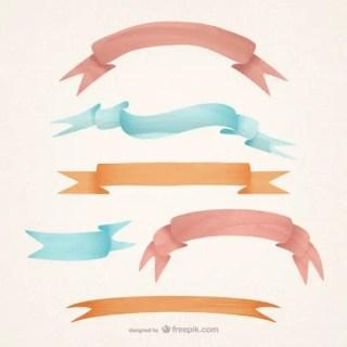Watercolor Style Ribbons Free Vectors