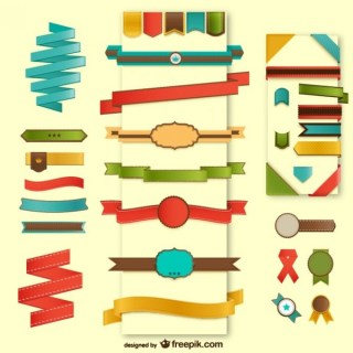 Web Elements Ribbons Collection Free Vectors