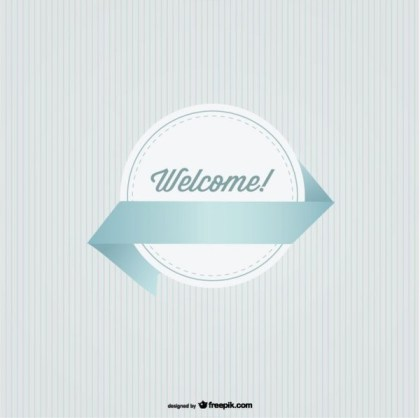 Welcome Round Badge with Ribbon Retro Style Free Vectors
