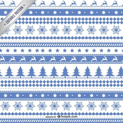 White and Blue Christmas Pattern Free Vectors