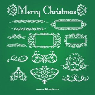 White Calligraphic Christmas Ornaments Free Vectors