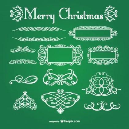 White Calligraphic Christmas Ornaments Free Vectors