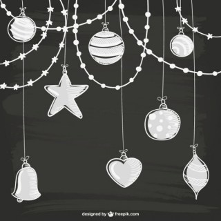 White Christmas Ornaments Free Vectors