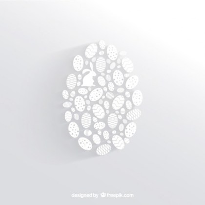 White Easter Egg Made of Little Egg Silhouettes Free Vectors