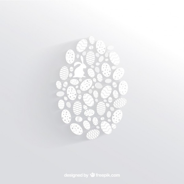 White Easter Egg Made of Little Egg Silhouettes Free Vectors
