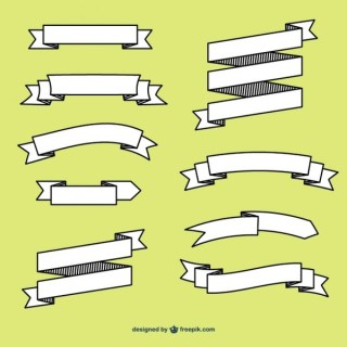 White Retro Style Banners Collection Free Vectors