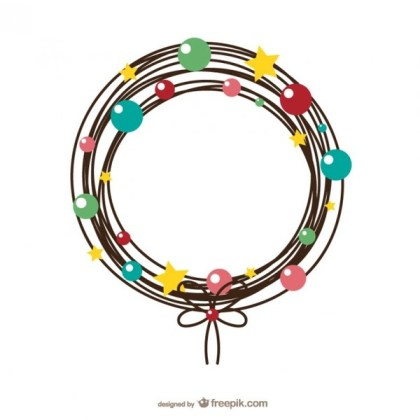 Wire Christmas Wreath Free Vectors