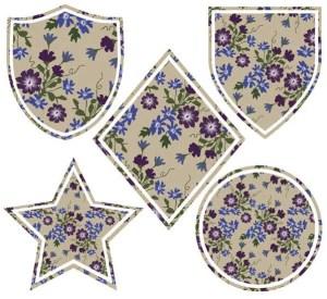 Shield Badges Flower Vector