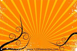 Sunburst Background Vector with Floral