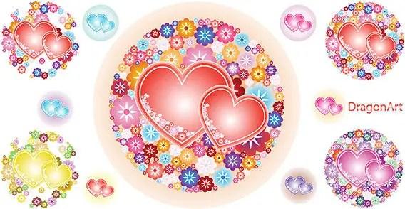 Vector Flowery Hearts