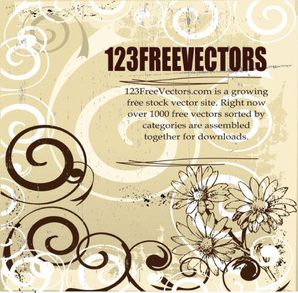 Floral Swirl Free Vector Background