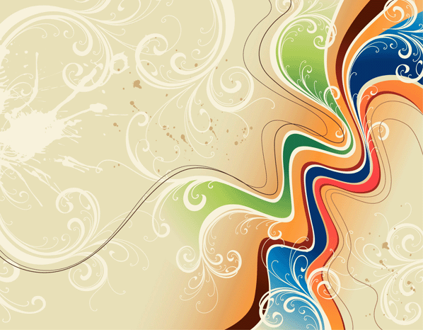 Wavy Floral Free Vector Background