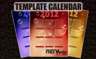 2012 Year Template Calendar Free Vector