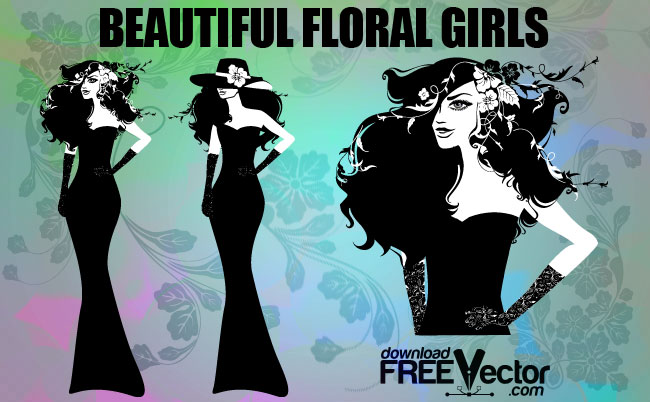 Beautiful Floral Girls Free Vector