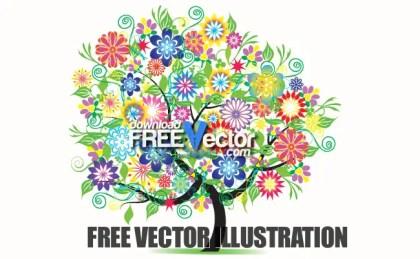 Beautiful Tree Flowers Free Vector