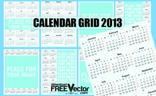 Calendar Grid 2013 Free Vector