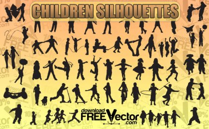 Children Silhouettes Free Vector