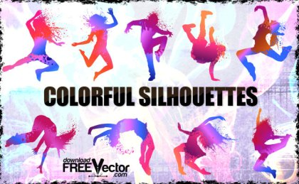 Colorful People Silhouettes Free Vector