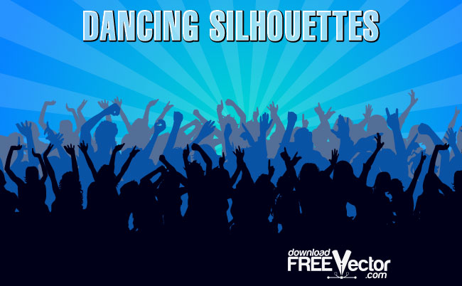 Dancing Crowd Silhouettes Free Vector