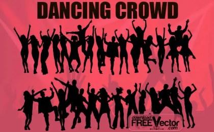 Dancing Crowd Free Vector