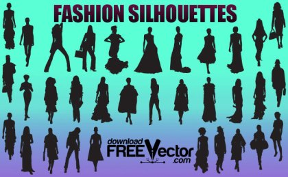 Fashion Girls Silhouettes Free Vector