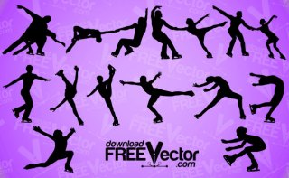Figure Skating Silhouettes Free Vector