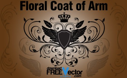 Floral Coat Of Arm Free Vector
